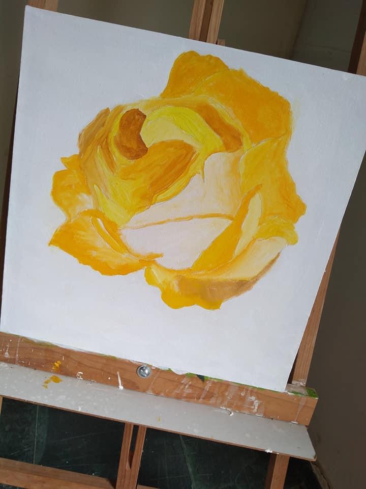 Pintura Rosa Amarela